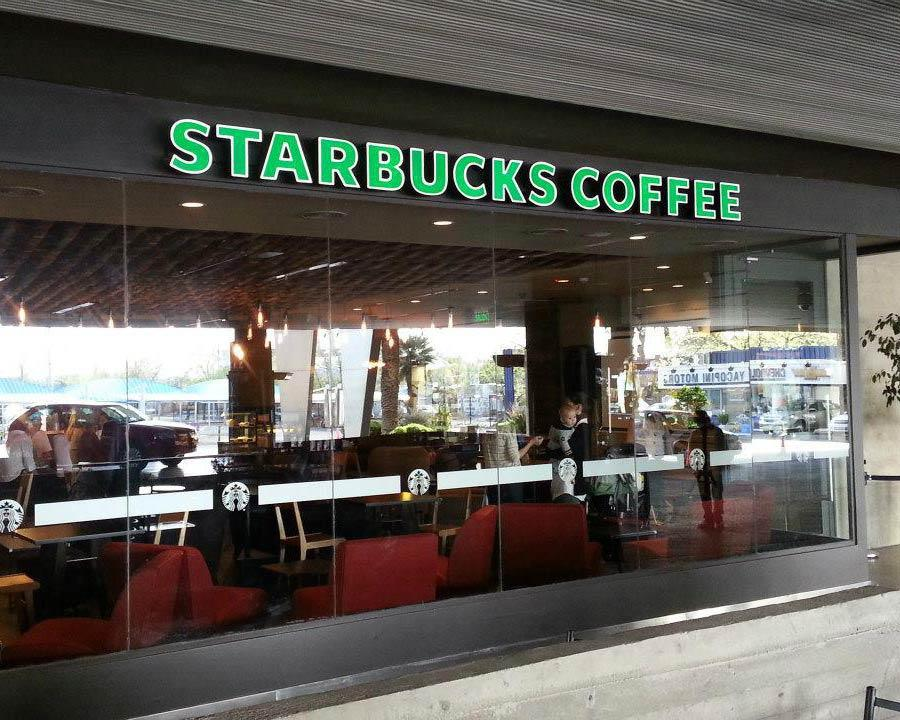 Cartel Backlight de letras corpóreas de chapa con luz LED interna Starbucks